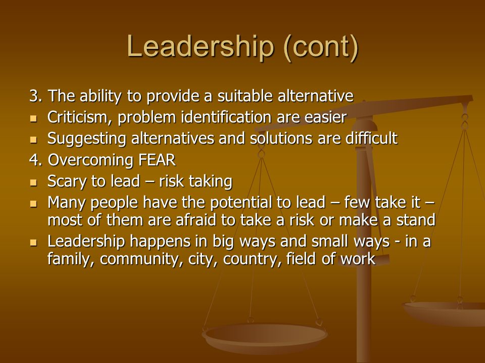 Leadership (cont) 3.