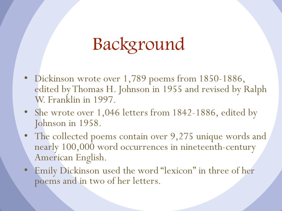 Background Dickinson wrote over 1,789 poems from 1850-1886, edited by Thomas H.