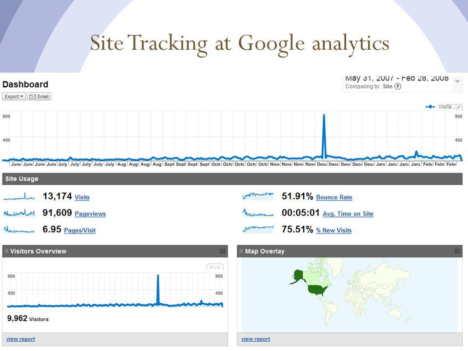 Site Tracking at Google analytics