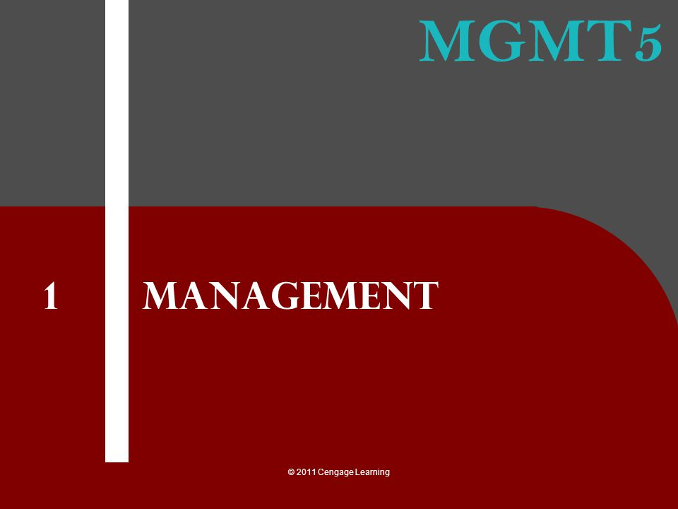 MGMT5 © 2011 Cengage Learning Management 1