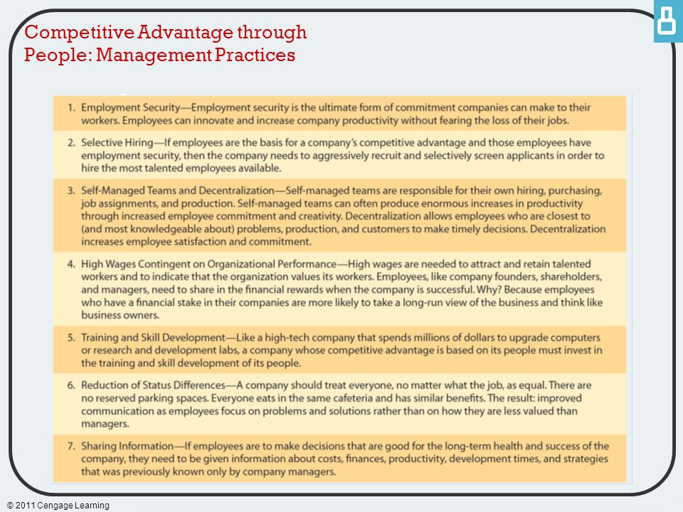 Competitive Advantage through People: Management Practices © 2011 Cengage Learning
