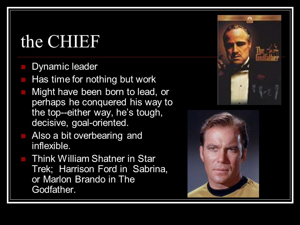 the CHIEF Dynamic leader Has time for nothing but work Might have been born to lead, or perhaps he conquered his way to the top--either way, he's tough, decisive, goal-oriented.