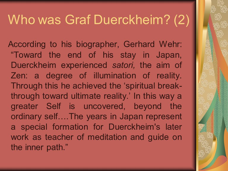 Who was Graf Duerckheim.