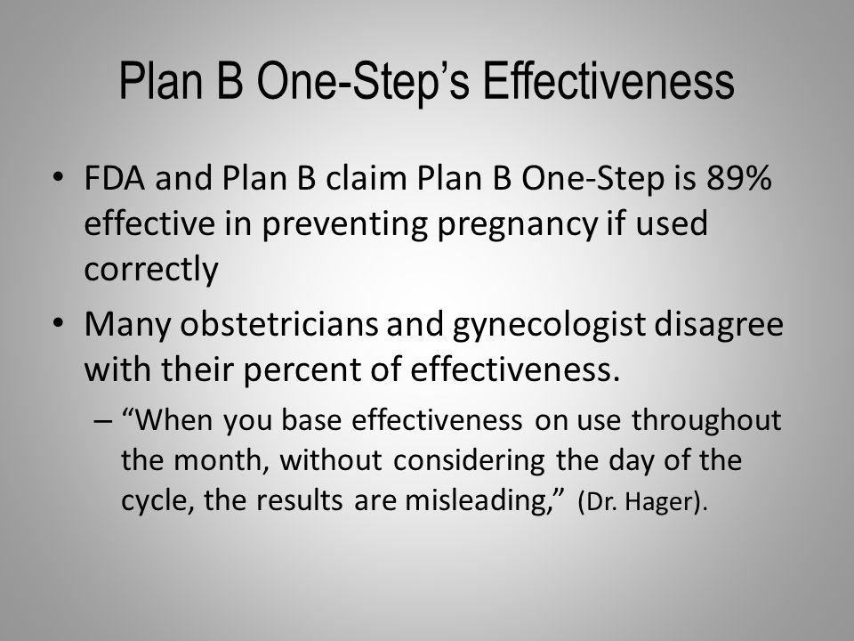 Plan B One-Step's Effectiveness FDA and Plan B claim Plan B One-Step is 89% effective in preventing pregnancy if used correctly Many obstetricians and gynecologist disagree with their percent of effectiveness.