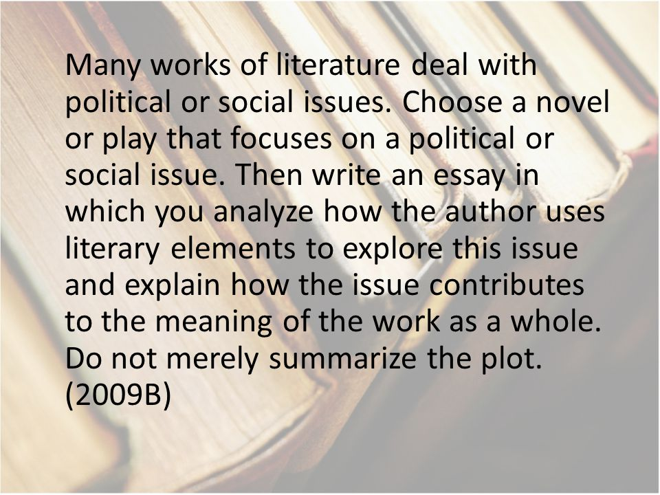 Many works of literature deal with political or social issues. Choose a novel or play that focuses on a political or social issue. Then write an essay
