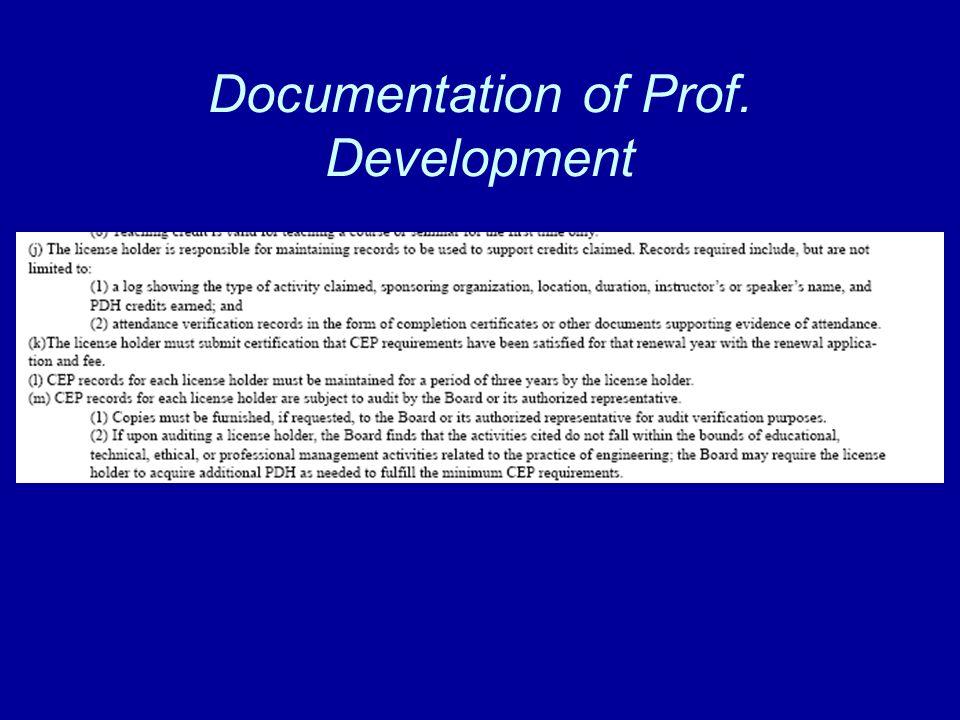 Documentation of Prof. Development