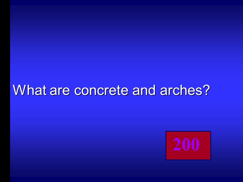 These two things helped Rome build their bridges, aqueducts and stadiums.