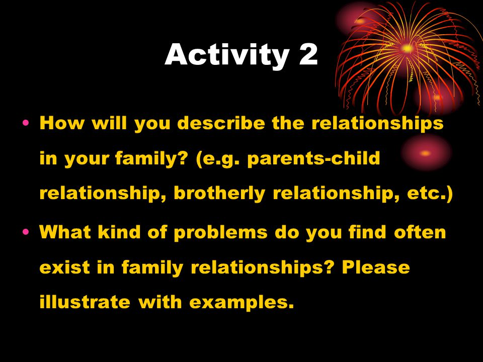Activity 2 How will you describe the relationships in your family.