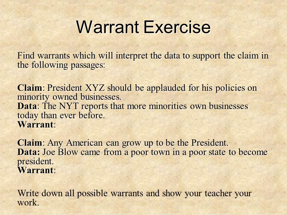 Warrant Exercise Find warrants which will interpret the data to support the claim in the following passages: Claim: President XYZ should be applauded for his policies on minority owned businesses.