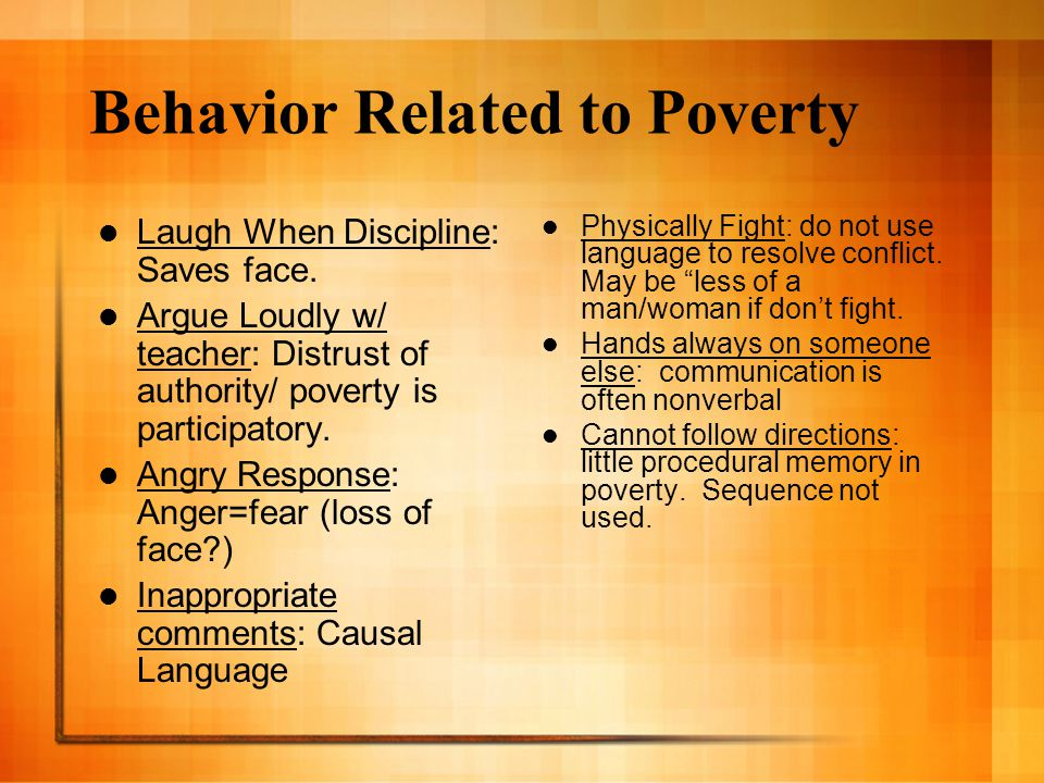 Behavior Related to Poverty Laugh When Discipline: Saves face. Argue Loudly w/ teacher: Distrust of authority/ poverty is participatory. Angry Respons