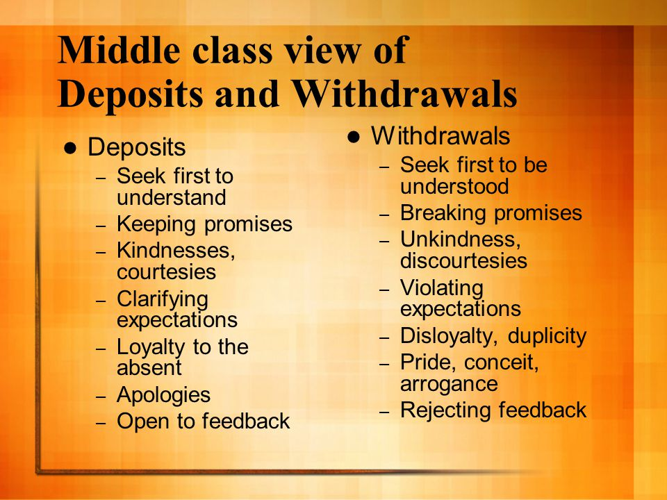 Middle class view of Deposits and Withdrawals Deposits – Seek first to understand – Keeping promises – Kindnesses, courtesies – Clarifying expectation