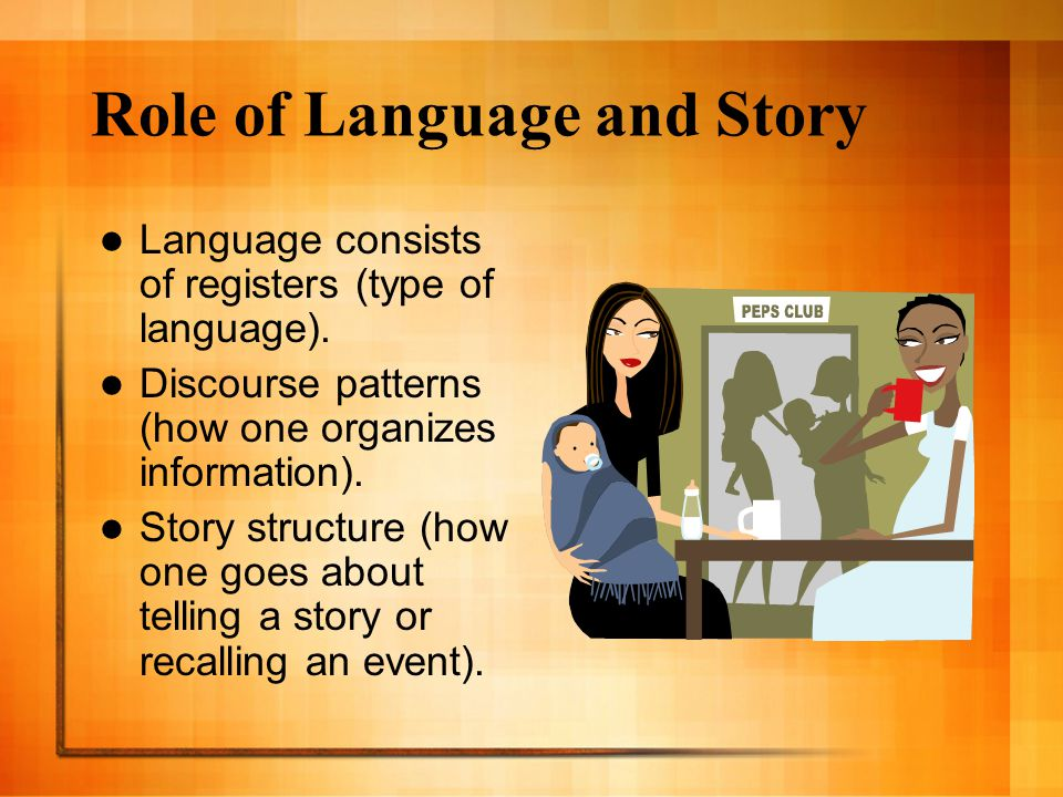 Role of Language and Story Language consists of registers (type of language). Discourse patterns (how one organizes information). Story structure (how