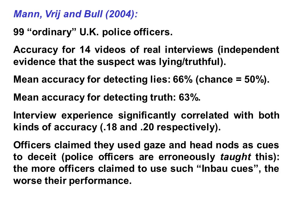 Mann, Vrij and Bull (2004): 99 ordinary U.K. police officers.