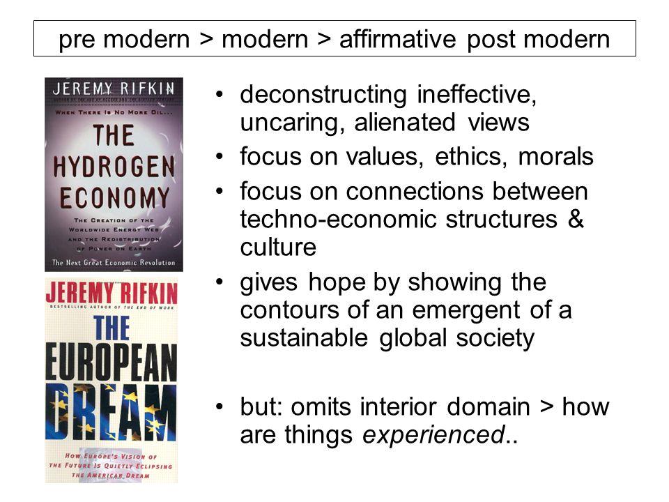 deconstructing ineffective, uncaring, alienated views focus on values, ethics, morals focus on connections between techno-economic structures & cultur