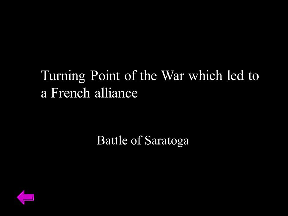 Turning Point of the War which led to a French alliance Battle of Saratoga