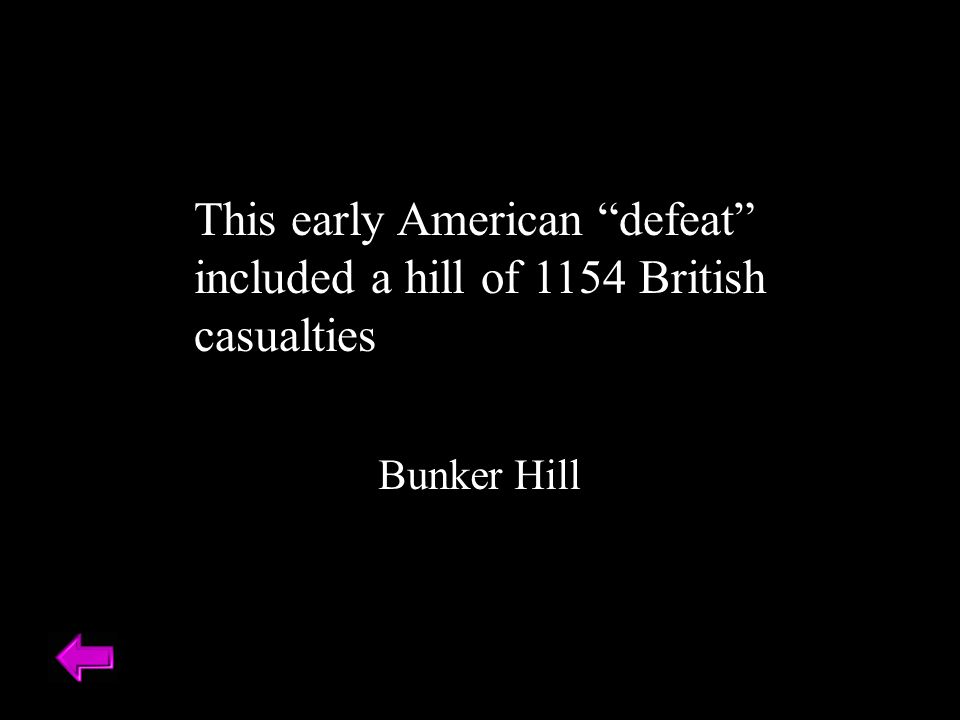 This early American defeat included a hill of 1154 British casualties Bunker Hill
