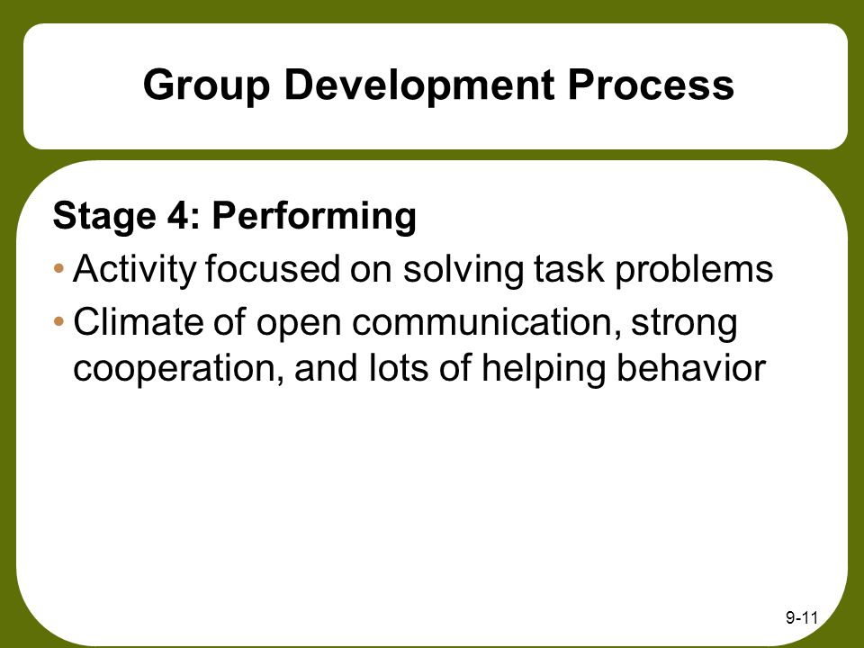 9-11 Group Development Process Stage 4: Performing Activity focused on solving task problems Climate of open communication, strong cooperation, and lots of helping behavior