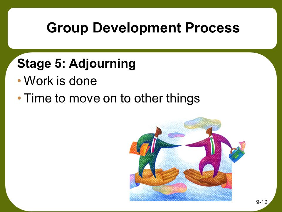 9-12 Group Development Process Stage 5: Adjourning Work is done Time to move on to other things