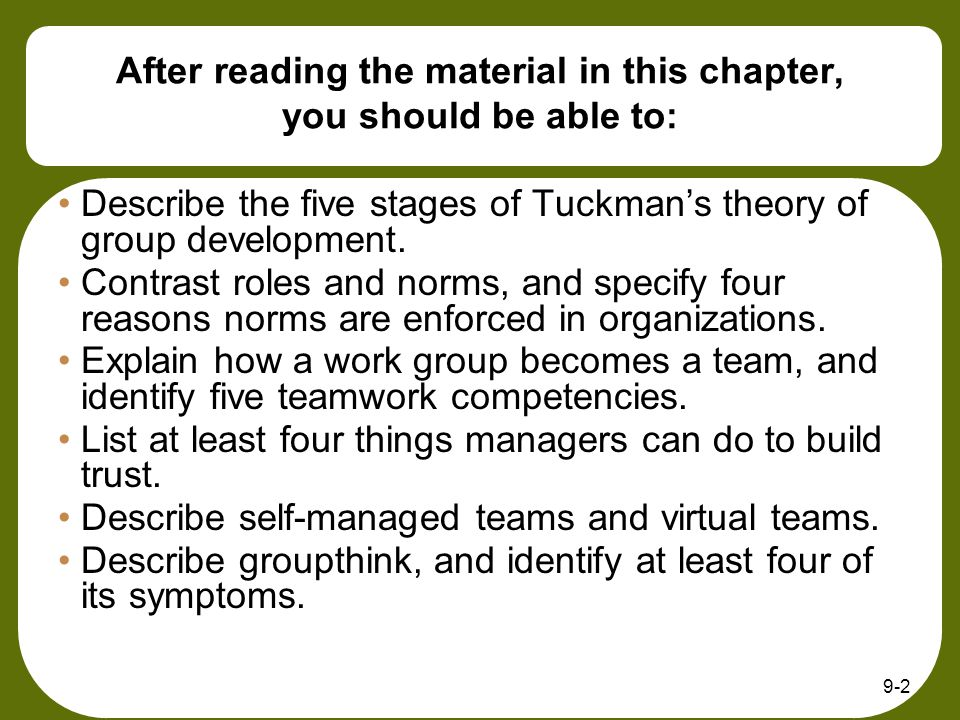 9-3 Fundamentals of Group Behavior Group -two or more freely interacting people with shared norms and goals and a common identity