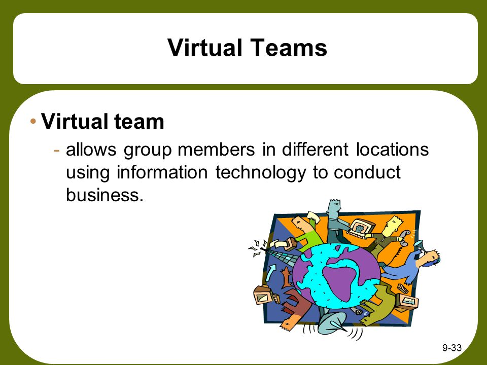 9-33 Virtual Teams Virtual team -allows group members in different locations using information technology to conduct business.