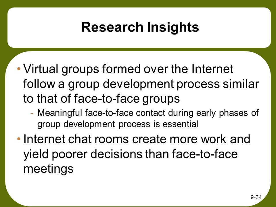 9-34 Research Insights Virtual groups formed over the Internet follow a group development process similar to that of face-to-face groups -Meaningful face-to-face contact during early phases of group development process is essential Internet chat rooms create more work and yield poorer decisions than face-to-face meetings
