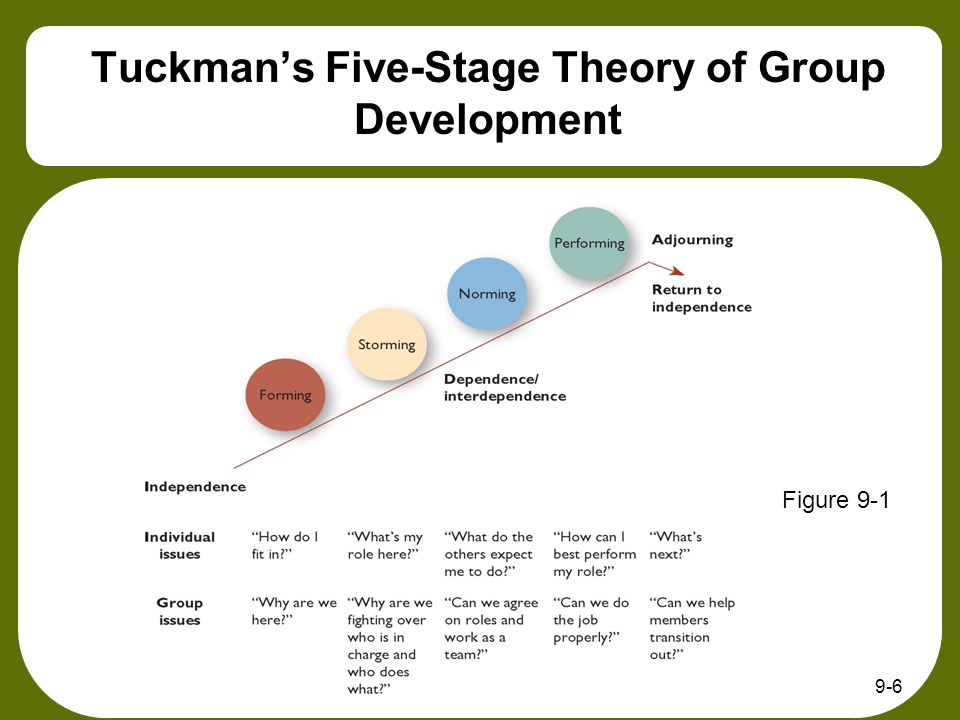 9-7 Group Development Process Stage 1: Forming Group members tend to be uncertain and anxious about their roles, the people in charge and the group's goals Mutual trust is low