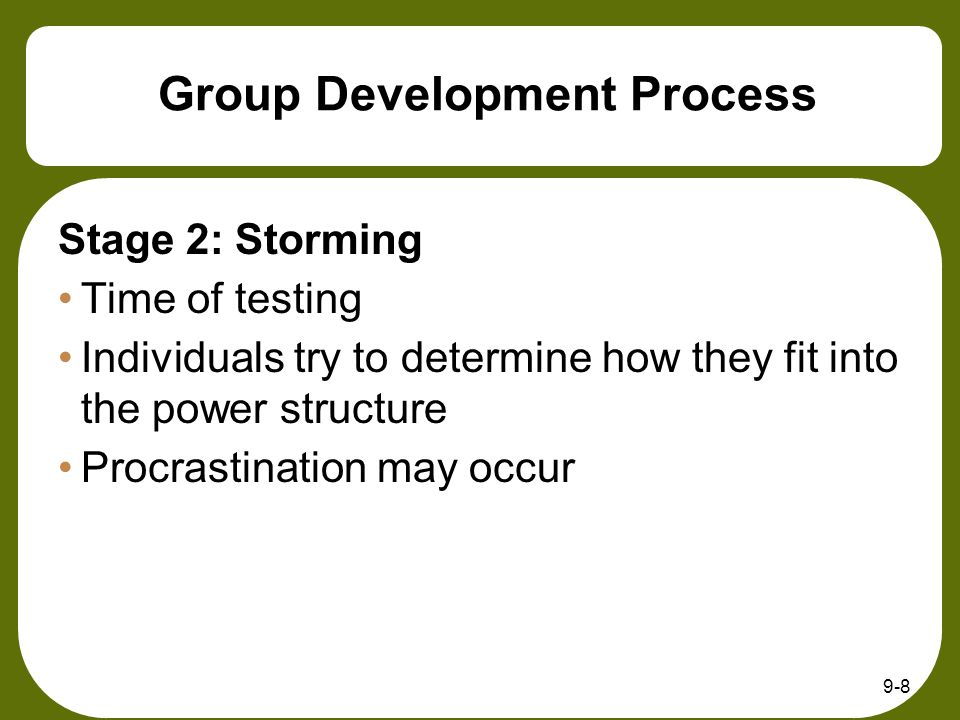 9-8 Group Development Process Stage 2: Storming Time of testing Individuals try to determine how they fit into the power structure Procrastination may