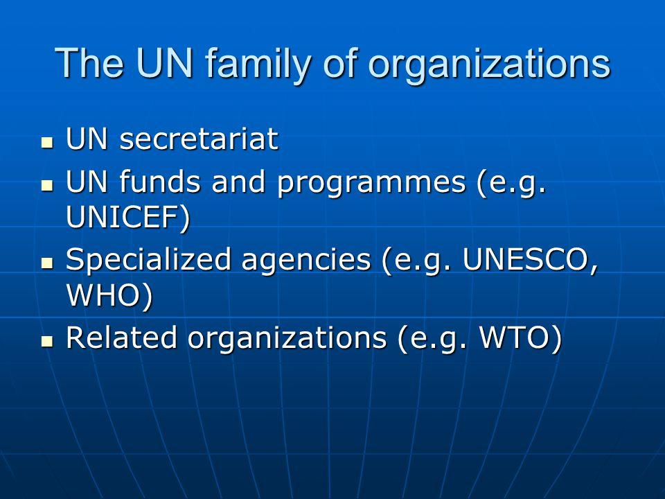 The UN family of organizations UN secretariat UN secretariat UN funds and programmes (e.g. UNICEF) UN funds and programmes (e.g. UNICEF) Specialized a