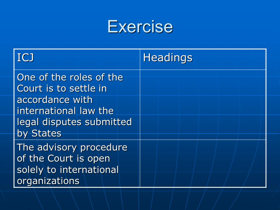 Exercise ICJHeadings The Court decides in accordance with international treaties and conventions in force, international custom, the general principles of law and, as subsidiary means, judicial decisions and the teachings of jurists