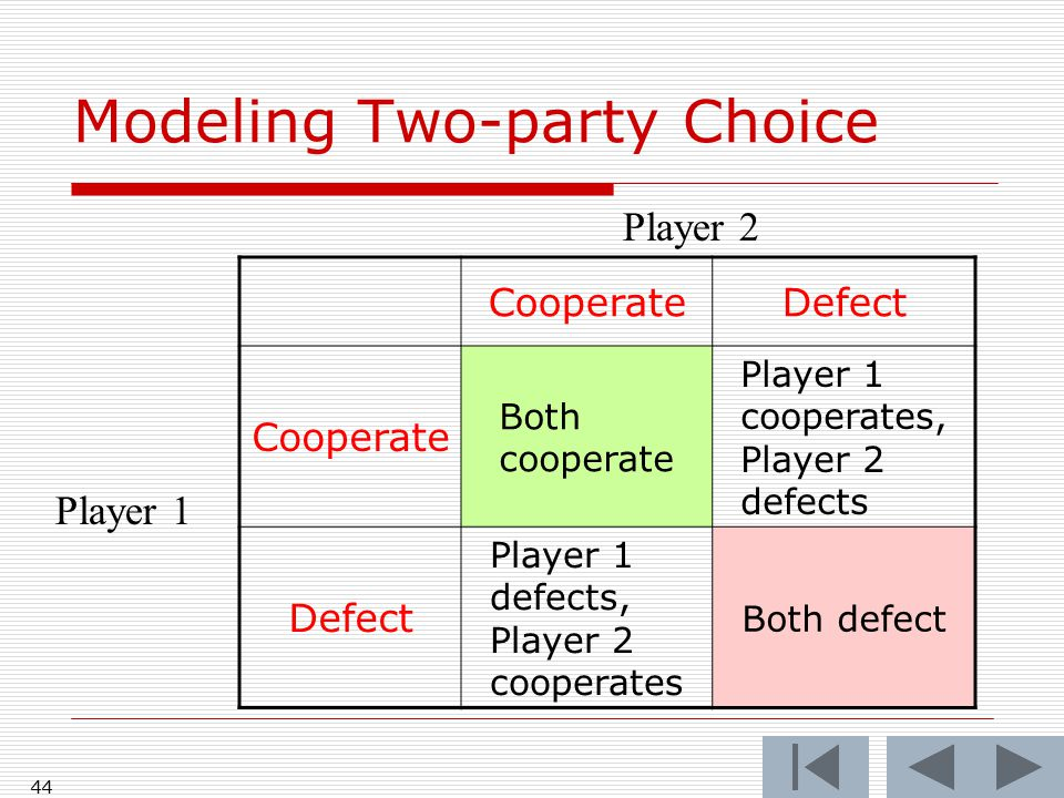 43 CooperateDefect Cooperate Defect Player 1 defects, Player 2 cooperates Player 2 Player 1 Modeling Two-party Choice Player 1's temptation to defect