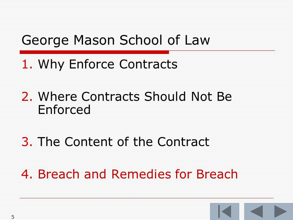 5 George Mason School of Law 1.Why Enforce Contracts 2.Where Contracts Should Not Be Enforced 3.The Content of the Contract 4.Breach and Remedies for Breach