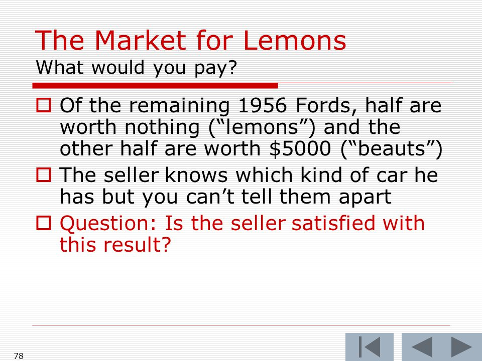 "77 The Market for Lemons What would you pay?  Of the remaining 1956 Fords, half are worth nothing (""lemons"") and the other half are worth $5000 (""bea"