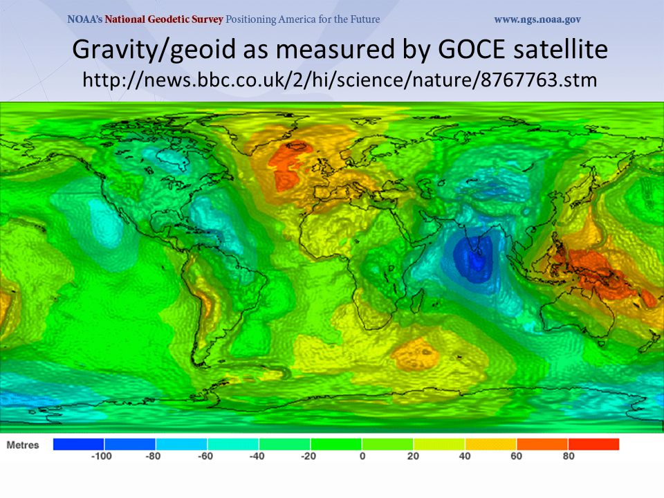 Gravity/geoid as measured by GOCE satellite http://news.bbc.co.uk/2/hi/science/nature/8767763.stm