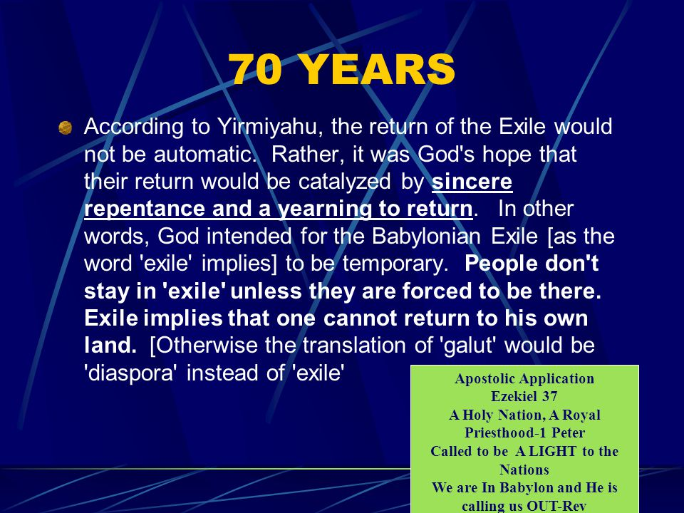 70 YEARS According to Yirmiyahu, the return of the Exile would not be automatic.