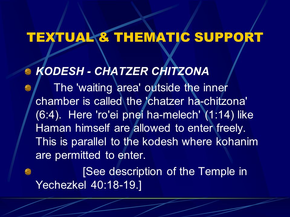 TEXTUAL & THEMATIC SUPPORT KODESH - CHATZER CHITZONA The waiting area outside the inner chamber is called the chatzer ha-chitzona (6:4).