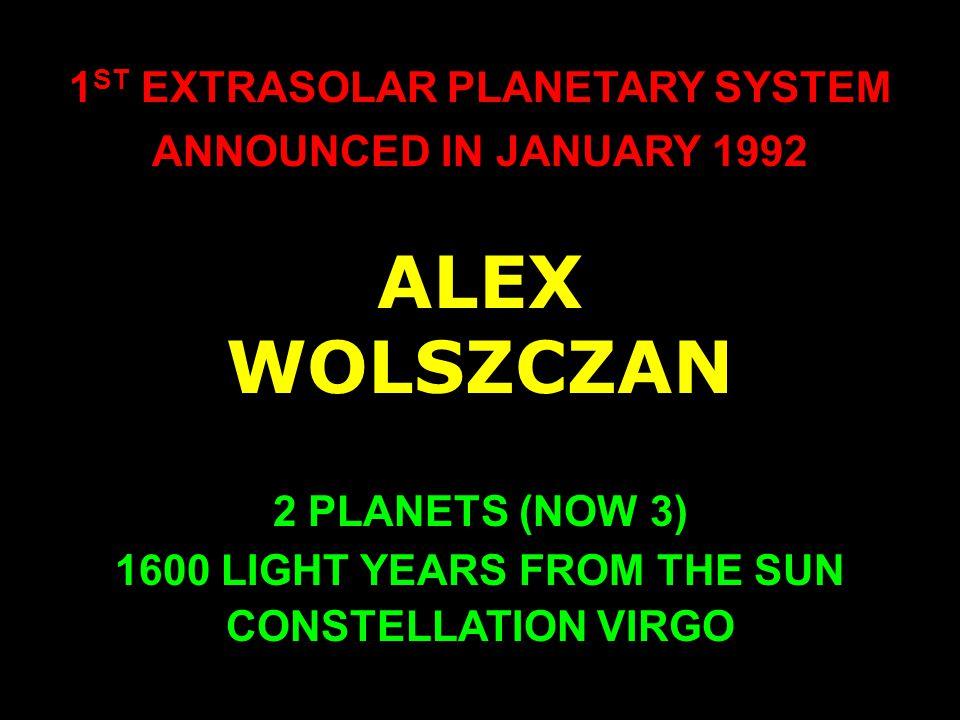 EXPECTED: NEARLY CIRCULAR ORBITS BIG PLANETS FAR AWAY FROM THE STAR NO PLANETS BIGGER THAN JUPITER DISCOVERED: STRONGLY ELONGATED ORBITS BIG PLANETS VERY CLOSE TO THE STAR MANY PLANETS BIGGER THAN JUPITER
