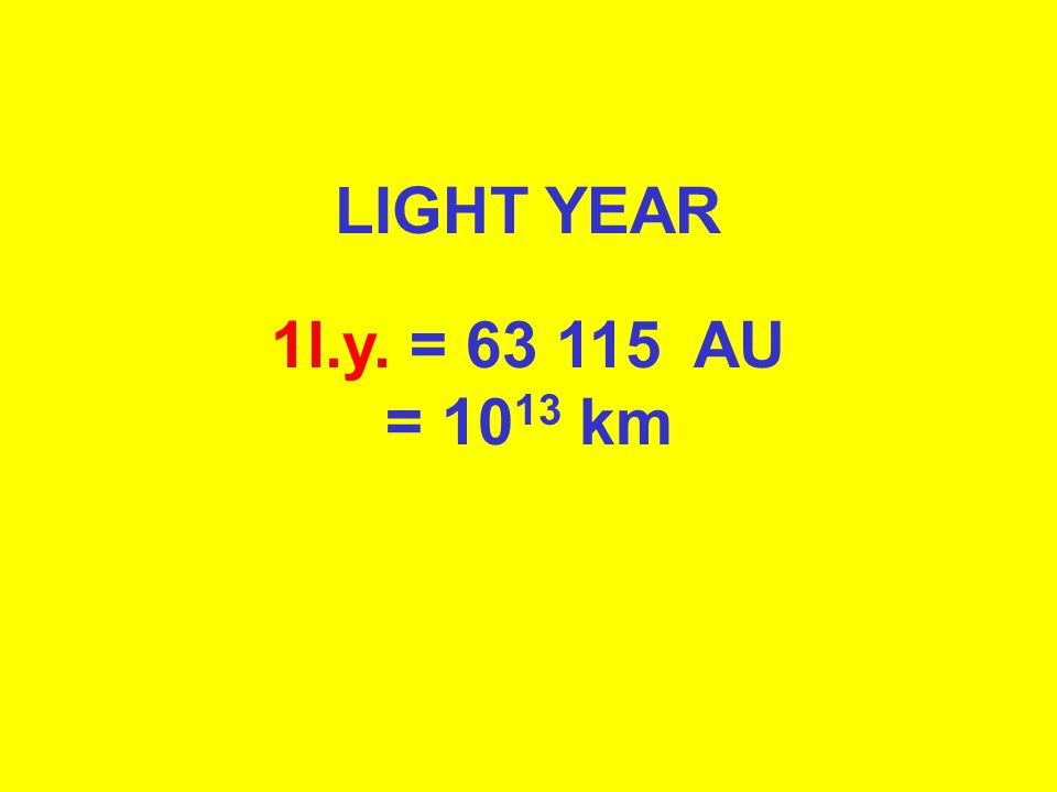 ASTRONOMICAL UNIT 1AU = 150 000 000 km = 8.3 light minutes LIGHT YEAR 1l.y. = 63 115 AU = 10 13 km