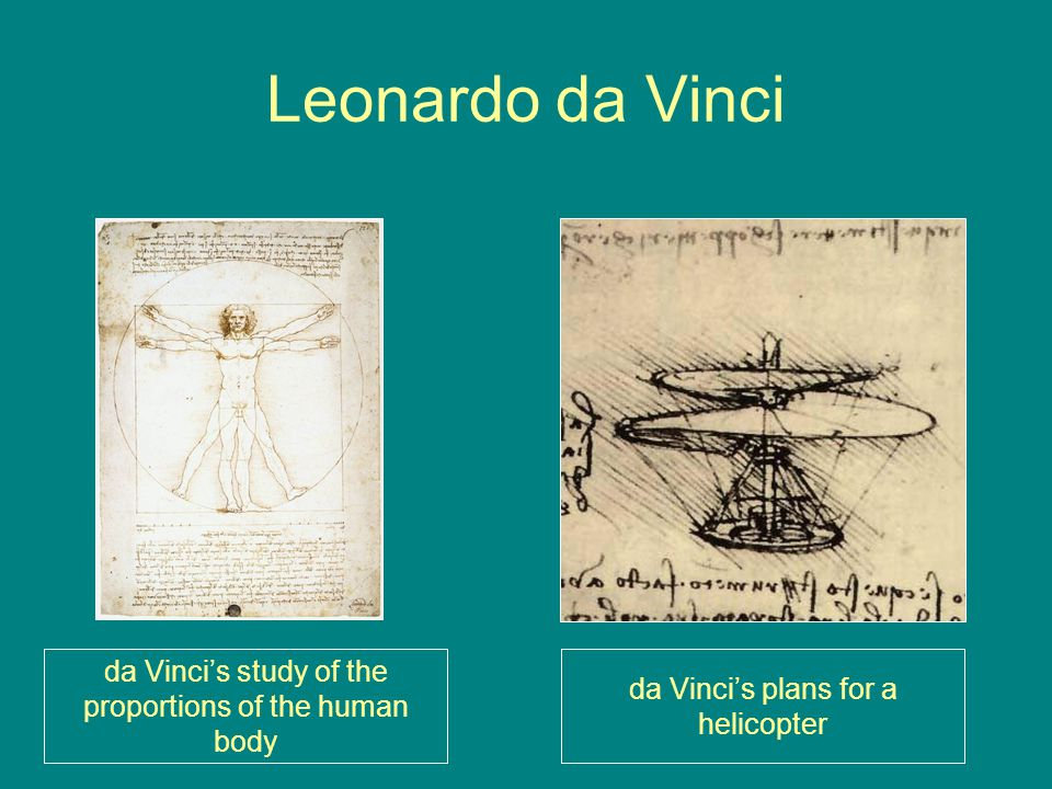 Leonardo da Vinci da Vinci's study of the proportions of the human body da Vinci's plans for a helicopter