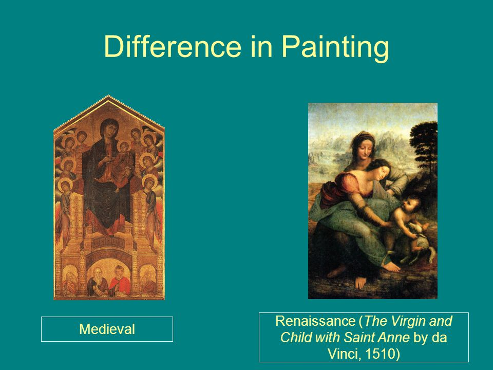 Difference in Painting Medieval Renaissance (The Virgin and Child with Saint Anne by da Vinci, 1510)