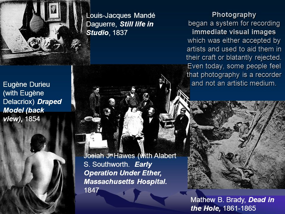 Photography began a system for recording immediate visual images which was either accepted by artists and used to aid them in their craft or blatantly rejected.