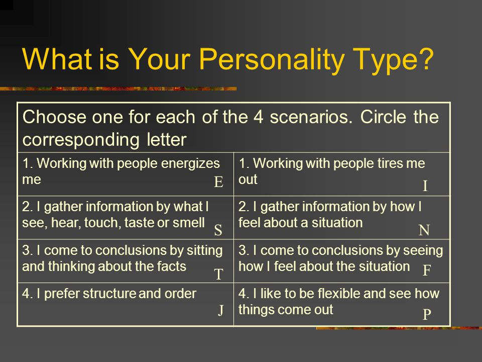 What is Your Personality Type? Choose one for each of the 4 scenarios. Circle the corresponding letter 1. Working with people energizes me 1. Working