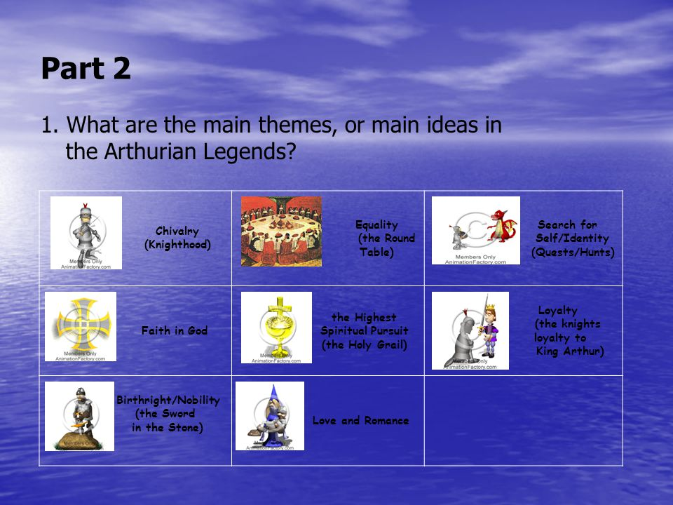 Part 2 1. What are the main themes, or main ideas in the Arthurian Legends.
