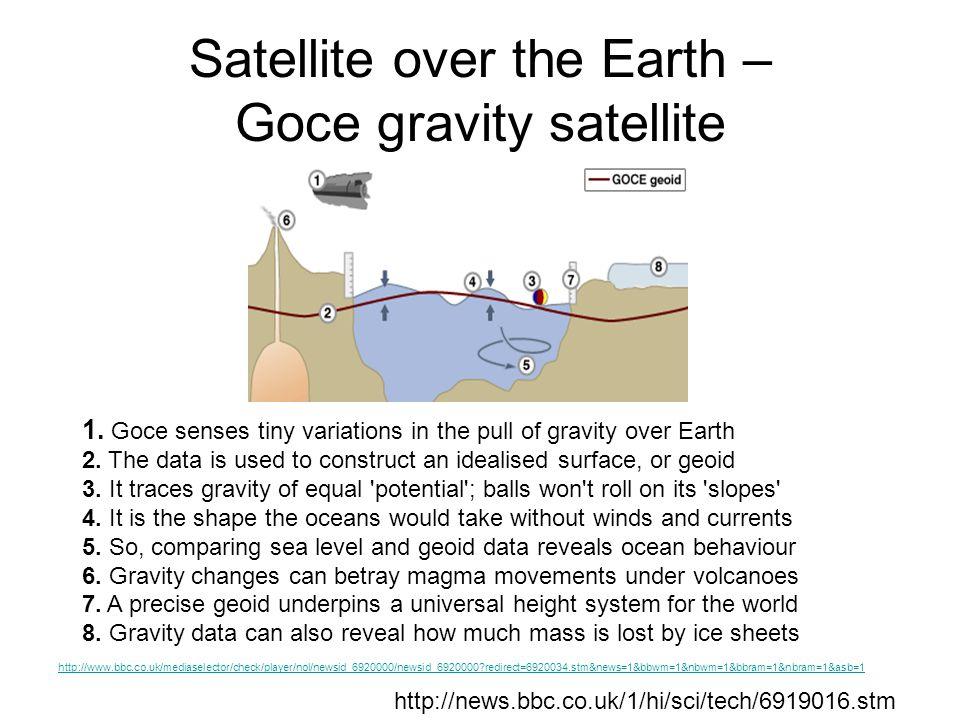 Satellite over the Earth – Goce gravity satellite http://news.bbc.co.uk/1/hi/sci/tech/6919016.stm 1.