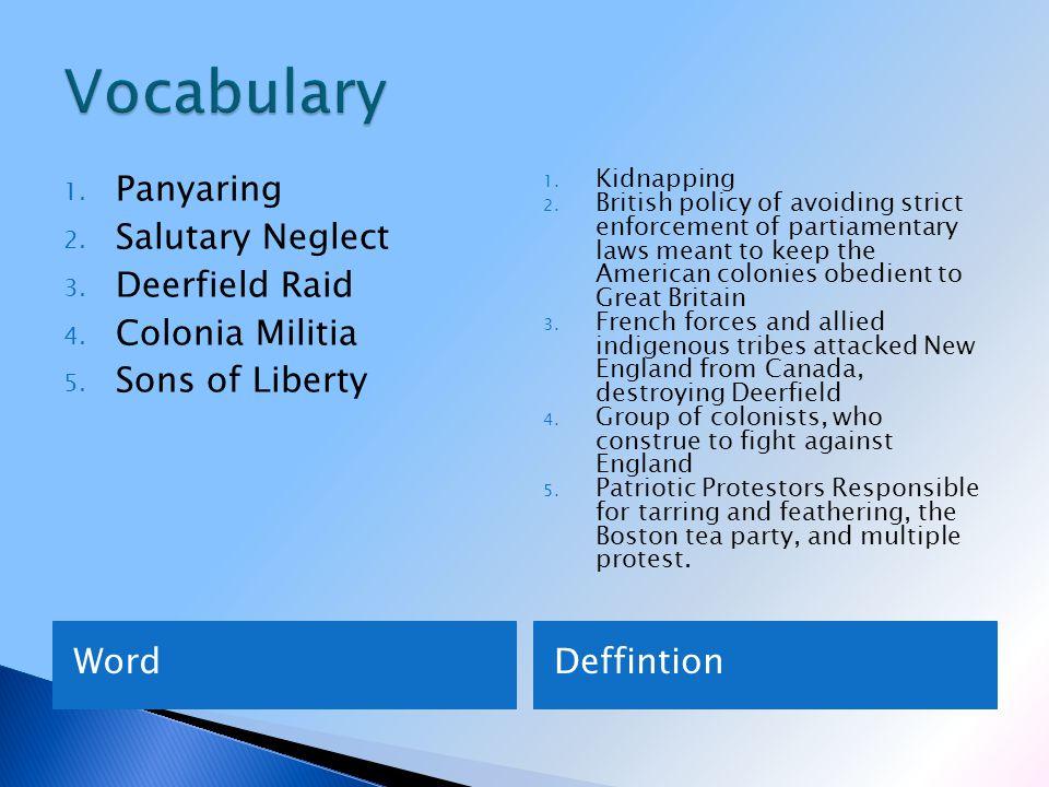 WordDeffintion 1. Panyaring 2. Salutary Neglect 3.