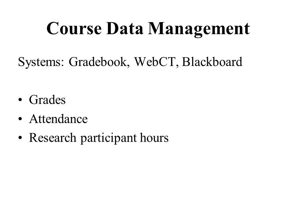 Course Data Management Systems: Gradebook, WebCT, Blackboard Grades Attendance Research participant hours