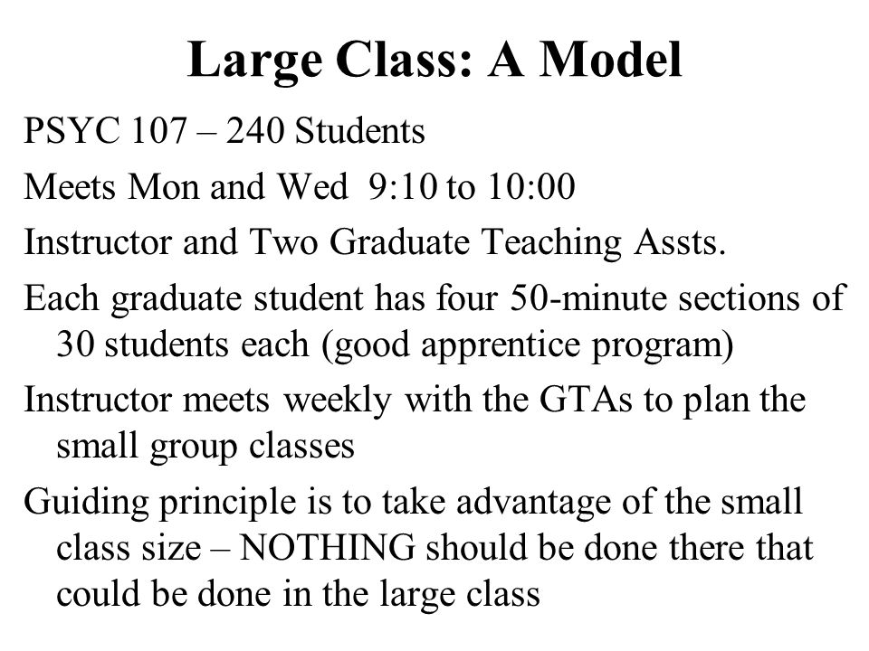Large Class: A Model PSYC 107 – 240 Students Meets Mon and Wed 9:10 to 10:00 Instructor and Two Graduate Teaching Assts. Each graduate student has fou