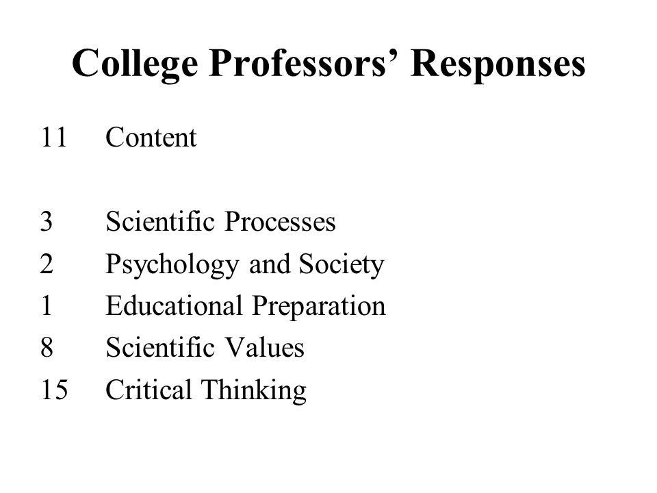 College Professors' Responses 11Content 3Scientific Processes 2Psychology and Society 1Educational Preparation 8Scientific Values 15Critical Thinking