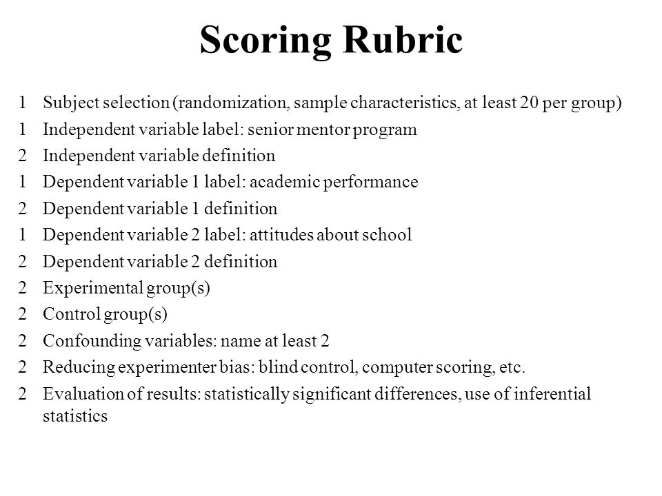 Scoring Rubric 1Subject selection (randomization, sample characteristics, at least 20 per group) 1Independent variable label: senior mentor program 2I