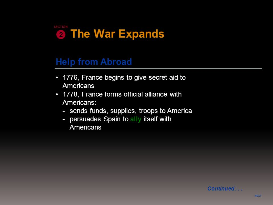 Help from Abroad NEXT 2 SECTION 1776, France begins to give secret aid to Americans 1778, France forms official alliance with Americans: -sends funds,