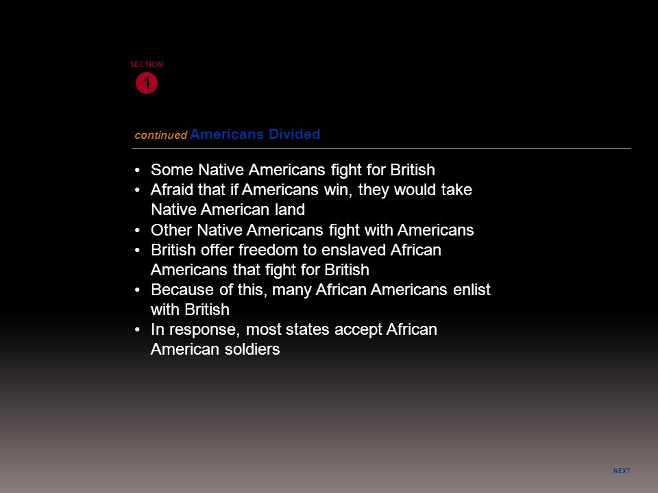 NEXT 1 SECTION Some Native Americans fight for British Other Native Americans fight with Americans Afraid that if Americans win, they would take Nativ